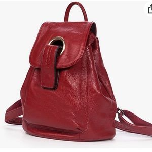 Red soft leather backpack
